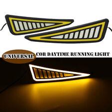 2PCS DRL LED Car Daytime Running Light Driving Bulbs Turn Signal Strip Fog Lamps