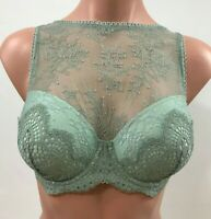 Victoria's Secret Dream Angels Lace Lined Demi High Neck Bra -Green- 34DD - NWT
