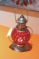 Hammered Metal Hanging Lantern Colored Beaded Globe Nickle/mild steel H21cms NEW
