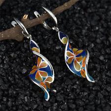 Fashion Ethnic Style Women Earring Creative Spiral Leaf   Flower Earrings A Pair