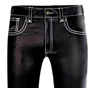 Lederjeans W34 NEU Lederhose 50 weiße Ziernähte  leather pants new 34 trousers
