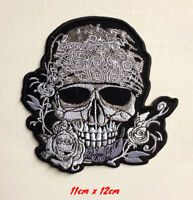Skull Flower Biker Art Badge Iron or sew on Embroidered Patch