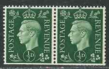 Great Britain (UK) Stamps 235b SG 462ab 1/2d Green Pair VF 1937 SCV