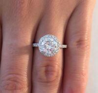 3.00 ct D VS1 Round Cut Diamond Halo Engagement Ring 14K White Gold