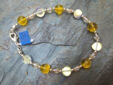 "Clear Czech Glass Beads 7.5"" Long Handmade Bracelet of Multi Shaped Yellow and"