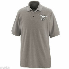NEW FORD MUSTANG 45TH ANNIVERSARY SIZE MED OR LARGE GREY 100% COTTON POLO SHIRT!