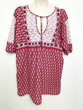 RUBY BY LEONA EDMISTON floral paisley print cotton smock dress sz 5 (18) boho