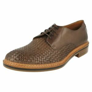 GRIMSBY CRAFT MENS CLARKS WOVEN DETAIL SMART CASUAL LACE UP LEATHER SHOES