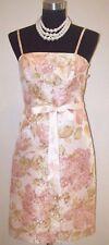 Ann Taylor Dress Sz 2 Silk Evening Pink Green Jacquard Casual Special Social S