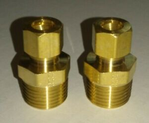 """3/8"""" OD Tube Compression X 1/2"""" Male NPT Brass Fitting Adapter Connector 2 PACK"""