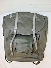 Swiss Army Military Backpack Rucksack Rubberized Canvas Leather Vintage Trek