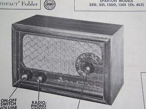 SPARTON 350, 351, 1300, & 1301 RADIO PHOTOFACT