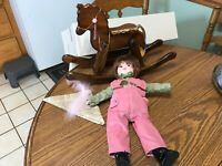 Rare Robin Woods Yankee Doodle Doll with Wooden Rocking Horse