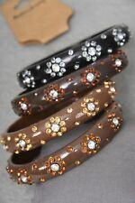 """Lot of 4 nice acrylic 3"""" Bangles with Flower Rhinestones - Plus size - Brown Mix"""