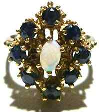 "DESIGNER ""M"" 14K YELLOW GOLD OPAL BLUE SAPPHIRE WOMENS ESTATE RING SIZE 6"