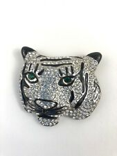 VTG Unsigned KJL Kenneth Jay Lane Tiger Brooch Pin Rhinestone Green Eyes