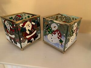 BHS Christmas Tea Light Holder -Santa Snowman Stained Glass WindowCandle Cubes