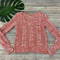 Free People Cable Knit Sweater Size S Orange White Chunky Long Sleeve Pullover