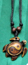 Tribal look Turtle necklace with Yin Yang design on shell  UNISEX & ADJUSTABLE