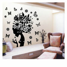 Flower Women Vinyl Wall Sticker Removable Decal Home Decor DIY Art Mural Sticker