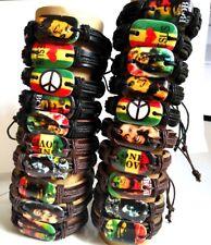 Job lot 10pcs Bob marley Leather Bracelets Men's Wristbands Fashion Bangles
