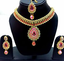 Indian Tradition Kundan Pink color Set Necklace and Earrings Gold Plated