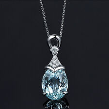 Women 925 Sterling Silver Aquamarine Gemstone Pendant Necklace Jewellery Gift UK