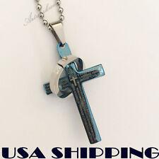 Small Unisex's Men's Women Blue Cross Ring Stainless Steel Pendant Necklace