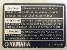 Yamaha TDR250 Pantalla Limpieza Etiqueta de advertencia de precaución