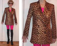 VINTAGE DRESS SALON LEOPARD CHEETAH SILKY DOUBLE-BREASTED JACKET RETRO LOOK S M