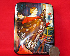 LACQUER Box Russian Trinket  Kustodiev hand painted Merchant Wife papier mache