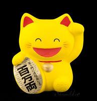Hucha Gato Japonés Amarillo Maneki Neko En Cerámica Fabricado En Japón 106-MIL6