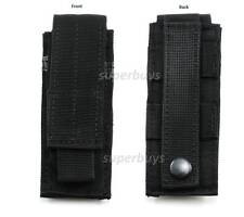Black MOLLE Tactical Attach to Belt Pouch Holder Holster Case Torch Utility Tool