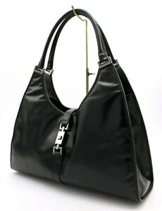 【Rank A】 Authentic Gucci Jackie GG Shoulder Hand Bag Tote Black Leather Italy