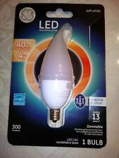 GE CAC LED 4W =40W Bulb, Candelabra Base DIMMABLE DECORATIVE FROSTED 300 LUMS