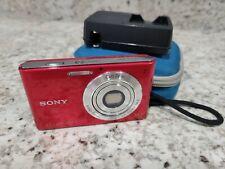 Sony Cyber-shot DSC-W330 14.1MP Digital Camera - Red w/ Battery, Charger + Case