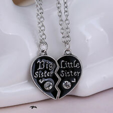 Sisters Love Combine Heart Pendant Necklace Chain Silver Black Jewelry Gift
