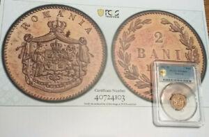 1867H ROMANIA 2 BANI $1 PCGS SP64RD WITH TRUE VIEW COLOR PHOTO    BCS/103