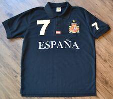 Spain Espana Mens Small Black National Team Country Patch Polo Shirt Number 7