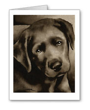 Black Lab Puppy note cards by watercolor artist Dj Rogers