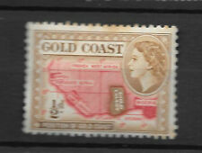 gold coast 1/2d stamp for sale - shows map and young queen's head - see scan