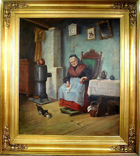 TH. WINCHLER! LARGE INTERIOR SCENE WITH OLD WOMAN AND HER CAT.