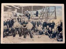 c1920 WWI Era 'Boxing Bout Aboard Ship' Naval Base Station Vintage WB Postcard