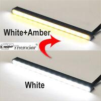 Slim Aluminum LED DRL Day Time Running Light fog Lamp White Amber