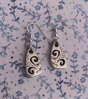 Brighton Brazilian Oblong Scrollwork Silver French Wire Custom Earrings