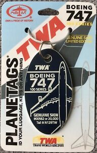 PLANETAGS : TWA BOEING 747-100 (N129TW) DARK BLUE TAG - AVIATION HISTORY