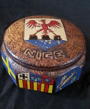 """Antique French hand carved wooden box """"Nice"""" with hand carved Coat of Arms"""