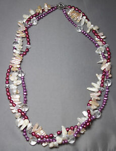 "White & Pink Pearl Quartz Crystal Necklace 3 strand 30"" Island Luau Stick Pearls"