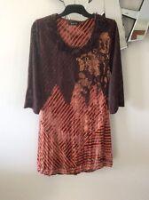 LILIA  Orange Brown Stripe Elbow Sleeve Knit Stretch Dress Tunic Top L 8 10 PC