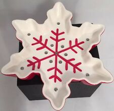 Hallmark Red White/Silver Snowflake Candy Dish Winter Christmas Serving Dish